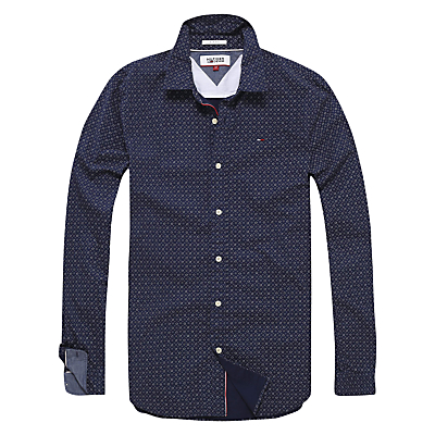 Image of Hilfiger Denim Printed Stretch Shirt, Black Iris