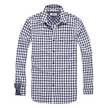 Buy Hilfiger Denim Herringbone Gingham Slim Fit Shirt, Marshmallow/Navy Online at johnlewis.com
