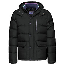 Buy Tommy Hilfiger Down Hooded Bomber Coat, Flag Black Online at johnlewis.com