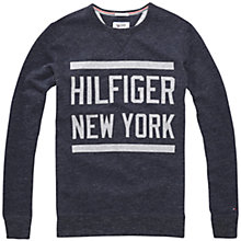 Buy Hilfiger Denim Long Sleeve Basic Crew Neck Sweatshirt, Caviar Heather Online at johnlewis.com