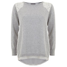 Buy Mint Velvet Lace Back Layered Knit, Grey Online at johnlewis.com