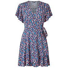 Buy Miss Selfridge Petite Floral Wrap Dress, Navy Blue Online at johnlewis.com
