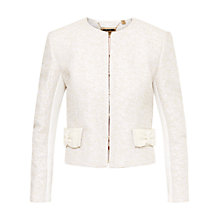 Buy Ted Baker Leysa Bouclé Bow Jacket, Cream Online at johnlewis.com