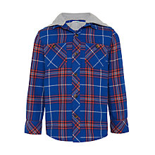 Buy John Lewis Boys' Hooded Check Shirt, Blue Online at johnlewis.com