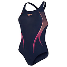 Buy Speedo Powerback Swimsuit, Blue/Orange Online at johnlewis.com