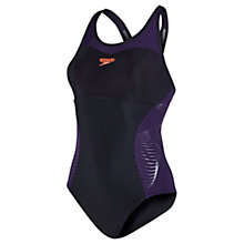 Buy Speedo Fit Racerback Sports Swimsuit, Black/Purple Online at johnlewis.com