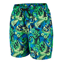"Buy Speedo Boys' Leisure 15"" Watershorts, Blue/Green Online at johnlewis.com"