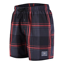 "Buy Speedo Check Leisure 18"" Watershort Swim Shorts, Black/Red Online at johnlewis.com"