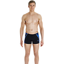 Buy Speedo Fit Printed Splice Aquashort Swim Shorts, Black/Blue Online at johnlewis.com