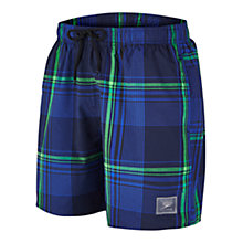 "Buy Speedo Wide Check Leisure 16"" Watershorts, Blue/Green Online at johnlewis.com"