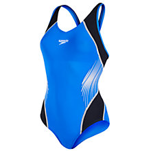 Buy Speedo Fit Splice Allover Muscleback Swimsuit, Blue/Black Online at johnlewis.com