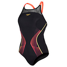 Buy Speedo Fit Pinnacle Xback Swimsuit, Black/Red Online at johnlewis.com