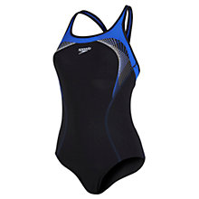 Buy Speedo Fit Kickback Swimsuit, Black/Blue Online at johnlewis.com