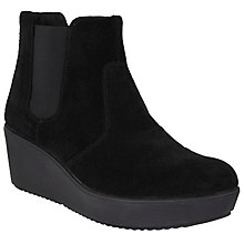 Buy John Lewis Designed for Comfort Plushcap Wedge Heeled Ankle Boots, Black Online at johnlewis.com