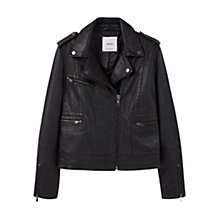 Buy Mango Zip Leather Biker Jacket, Black Online at johnlewis.com