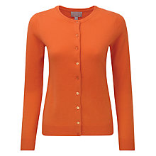 Buy Pure Collection Dalebury Round Neck Cashmere Cardigan, Sunset Orange Online at johnlewis.com