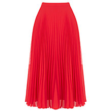 Buy Oasis Pleated Skirt, Red Online at johnlewis.com