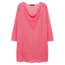Buy Violeta by Mango Fine-Knit Linen-Blend Jumper, Medium Pink Online at johnlewis.com