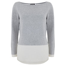 Buy Mint Velvet Block Curve Hem Knit Top, Grey Online at johnlewis.com