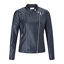 Buy Jigsaw Nappa Leather Biker Jacket, Ink Online at johnlewis.com