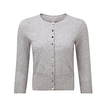 Buy Pure Collection Barbara Crop Cashmere Cardigan, Heather Dove Online at johnlewis.com