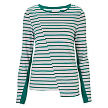 Buy Finery Ovington Striped Long Sleeve Jersey Top, Green/White Online at johnlewis.com
