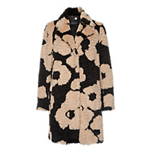 Buy Marc Cain Fleo Pattern Faux Fur Coat, Black/Biscuit Online at johnlewis.com