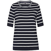 Buy Tommy Hilfiger Ivy Elbow-Length Stripe Jumper, Navy Blazer/Snow White Online at johnlewis.com
