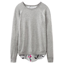 Buy Joules Ellenor Woven Knit Mix Jumper, Soft Grey Marl Online at johnlewis.com