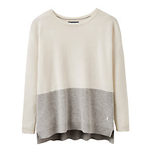 Buy Joules Drop Shoulder Colour Block Jumper, Cream/Grey Online at johnlewis.com