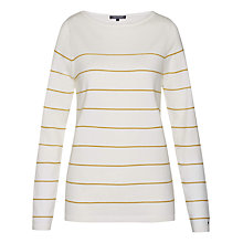 Buy Tommy Hilfiger Ivy Stripe Jumper, Snow White/Sundown Yellow Online at johnlewis.com