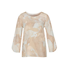 Buy Marc Cain Animal Print Silk Blouse, Taupe/Spa Blue Online at johnlewis.com