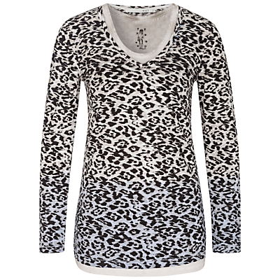 Oui Animal Print Double Layer Jersey Top, Black/White
