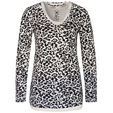Buy Oui Animal Print Double Layer Jersey Top, Black/White Online at johnlewis.com