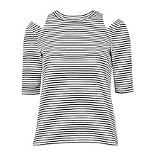 Buy Whistles Split Shoulder Stripe Top, Black/White Online at johnlewis.com