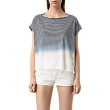 Buy AllSaints Pina Grade T-Shirt, Ink Blue/White Online at johnlewis.com