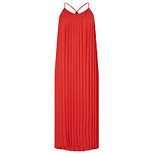 Buy Warehouse Pleated Dress, Bright Red Online at johnlewis.com