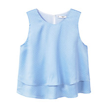 Buy Mango Ruffled Hem Top, Pastel Blue Online at johnlewis.com