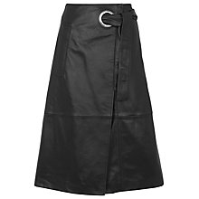 Buy Whistles Lori Eyelet Leather Skirt, Black Online at johnlewis.com