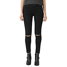 Buy AllSaints Grace Slashed Jeans, Jet Black Online at johnlewis.com
