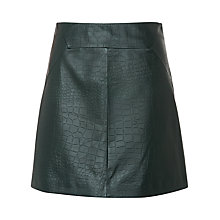 Buy Whistles Leather Croc A-Line Skirt, Dark Green Online at johnlewis.com
