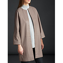 Buy Modern Rarity Leather Cut Edge Coat, Nude Online at johnlewis.com