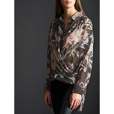 Modern Rarity Archive Print Wrap Blouse, Charcoal
