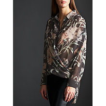 Buy Modern Rarity Archive Print Wrap Blouse, Charcoal Online at johnlewis.com