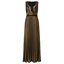 Buy Bruce by Bruce Oldfield Stitch Detail Pleated Dress, Bronze/Black Online at johnlewis.com