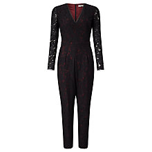 Buy Somerset by Alice Temperley Lace Jumpsuit, Black/Burgundy Online at johnlewis.com