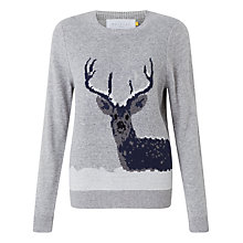 Buy Collection WEEKEND by John Lewis Snow Deer Intarsia Jumper, Grey/Multi Online at johnlewis.com