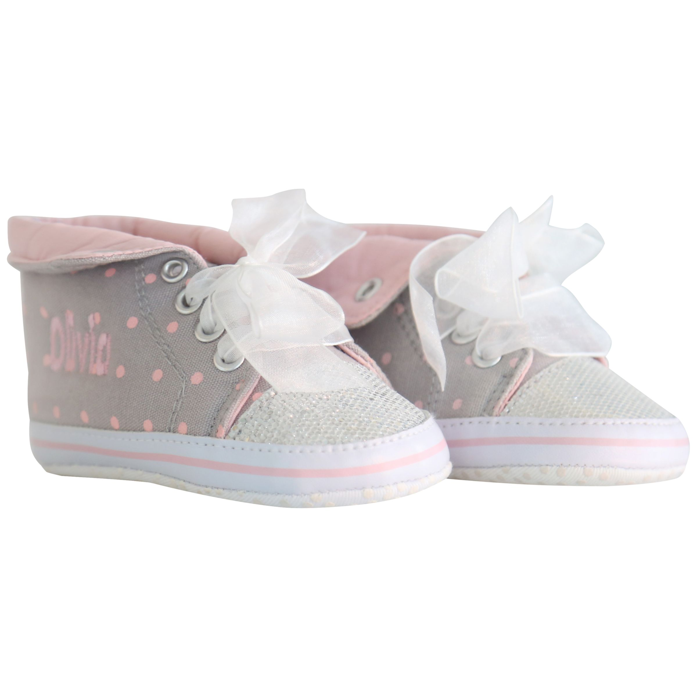 My 1st Years My 1st Years Baby Personalised Glitter Hi-top Trainers, Multi