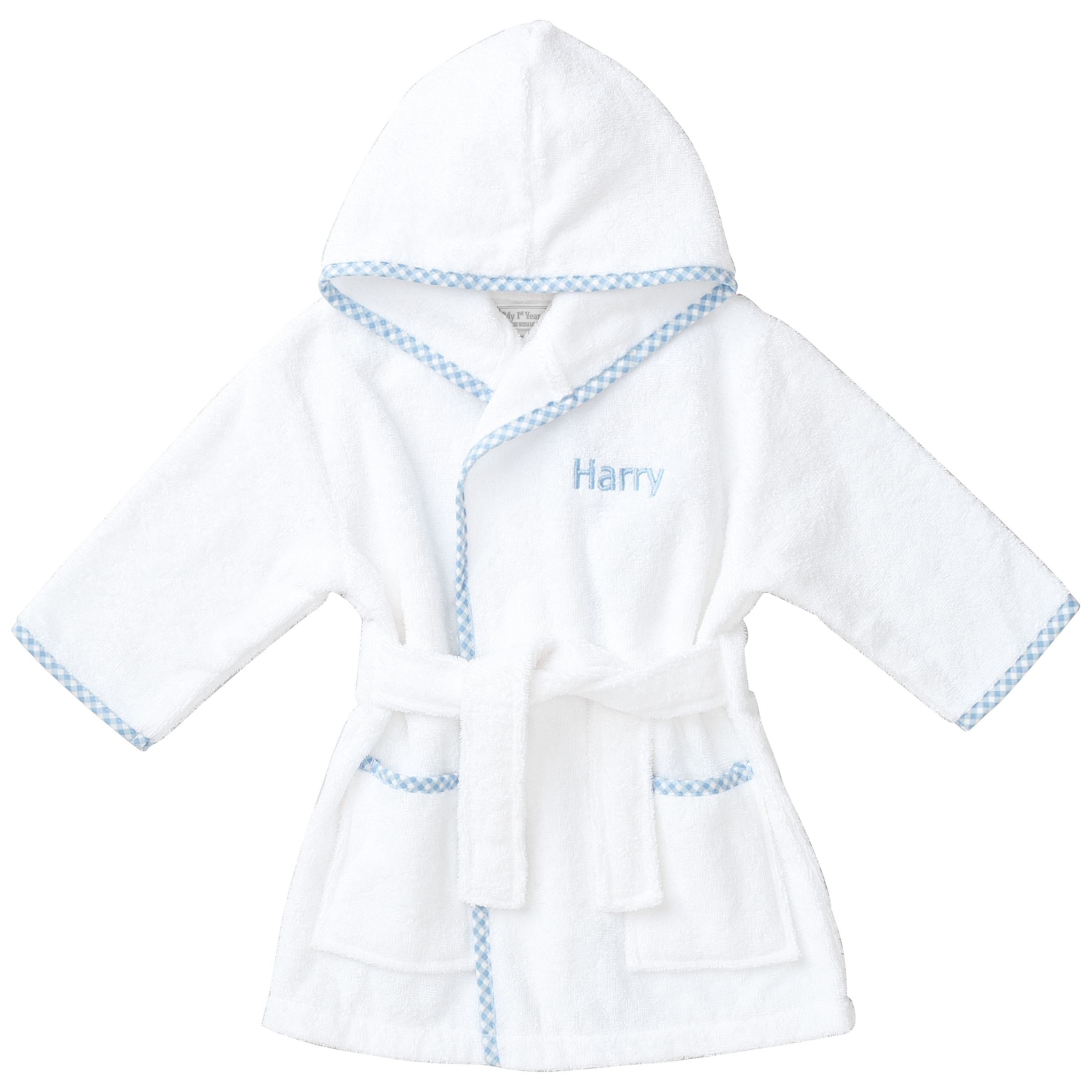 My 1st Years My 1st Years Baby Personalised Prince Gingham Robe, Multi