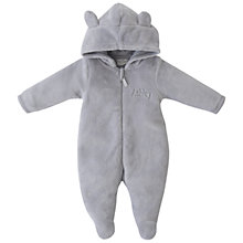 Buy My 1st Years Baby Peronsalised Bear Fleece Onesie, Grey Online at johnlewis.com